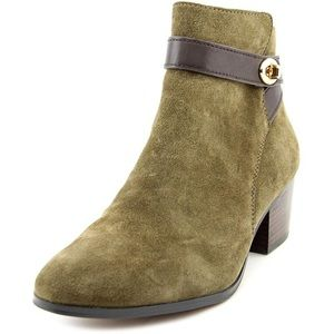 Coach Patricia Round Toe Suede Green Ankle Booties